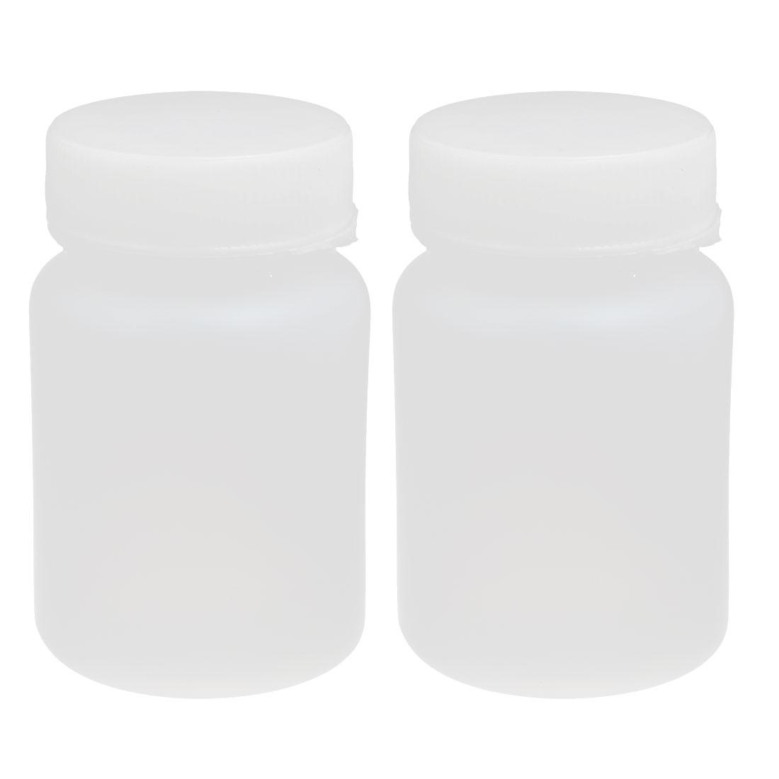 60ml HDPE Plastic Screw Cap Wide Mouth Cylinder Reagent Storage Bottle White 2pcs