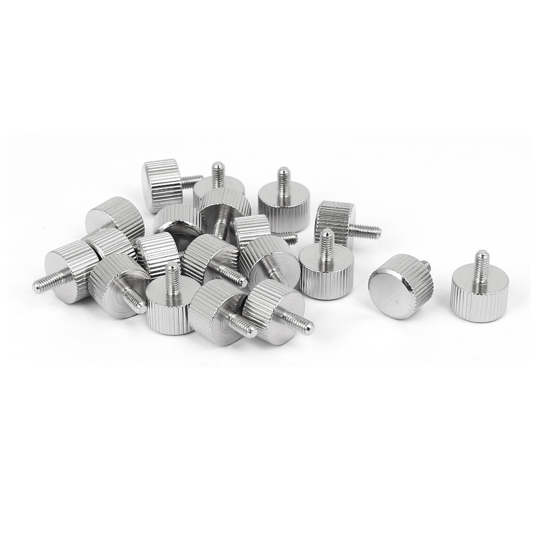 M3 x 6mm Nickel Plated Flat Head Knurled Thumb Screw 20pcs for Computer PC Case