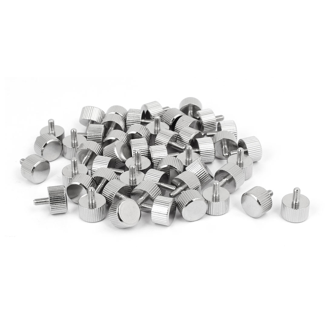 M3 x 6mm Nickel Plated Flat Head Knurled Thumb Screw 50pcs for Computer PC Case