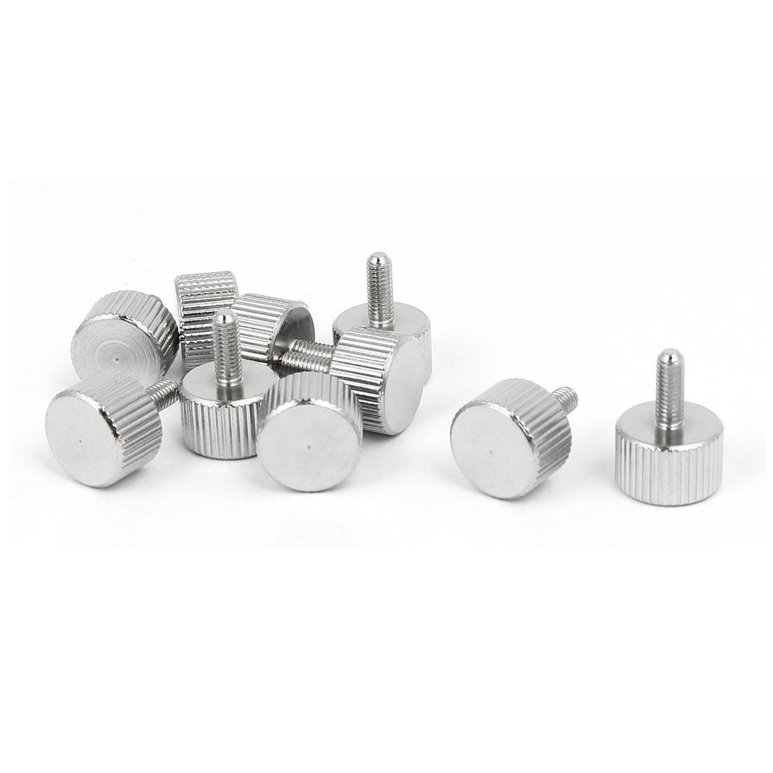 M3x8mm Nickel Plated Flat Head Knurled Thumb Screw 10pcs for Computer PC Case