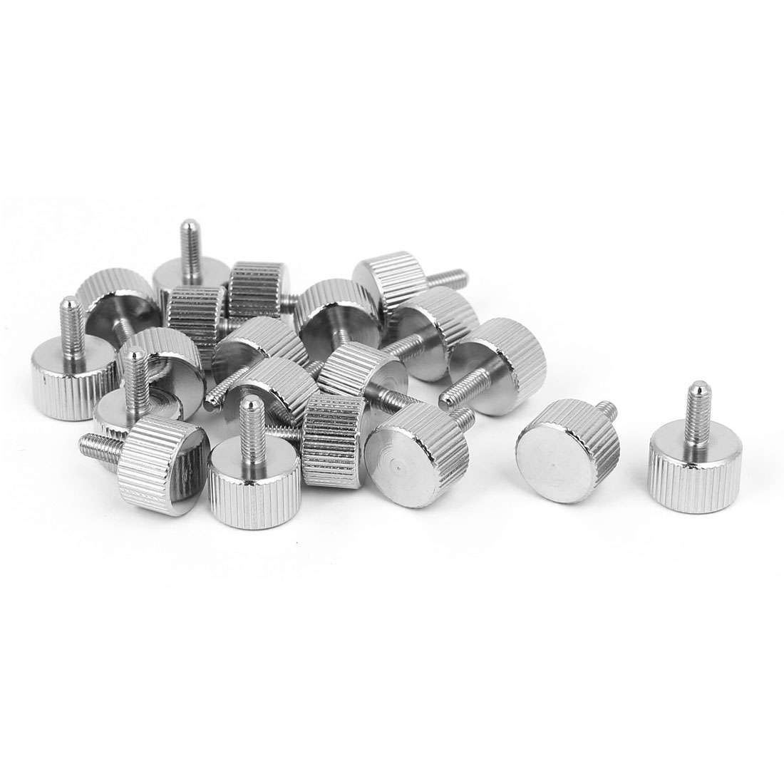 M3x8mm Nickel Plated Flat Head Knurled Thumb Screw 20pcs for Computer PC Case