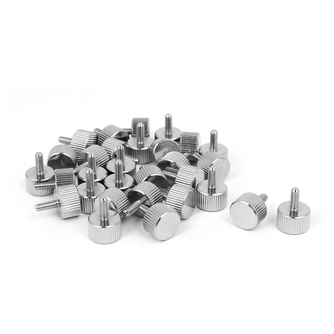 M3x8mm Nickel Plated Flat Head Knurled Thumb Screw 30pcs for Computer PC Case