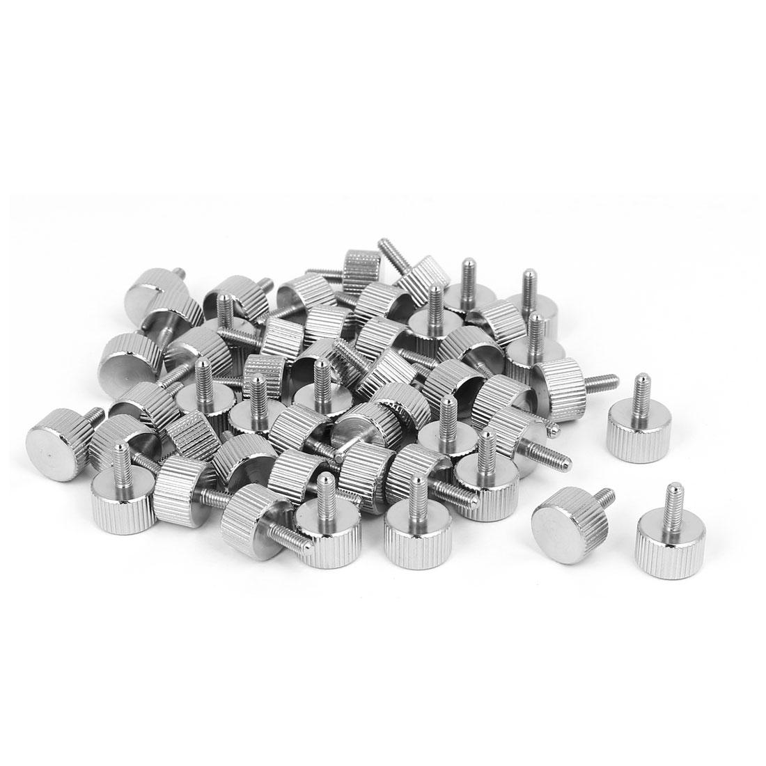 M3x8mm Nickel Plated Flat Head Knurled Thumb Screw 50pcs for Computer PC Case