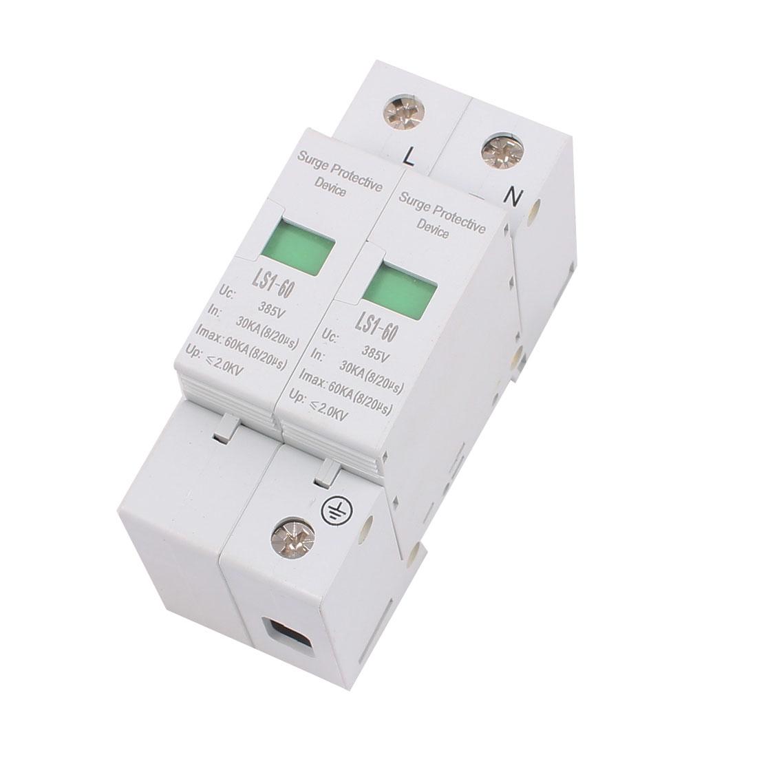 AC 385V 60KA Max Current 30KA In Single Phase Arrester Surge Protector Device