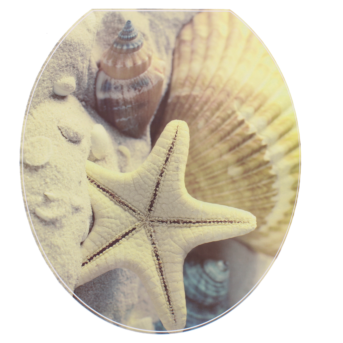 Bathroom PVC Starfish Pattern Removable Water Resistance Toilet Lid Sticker