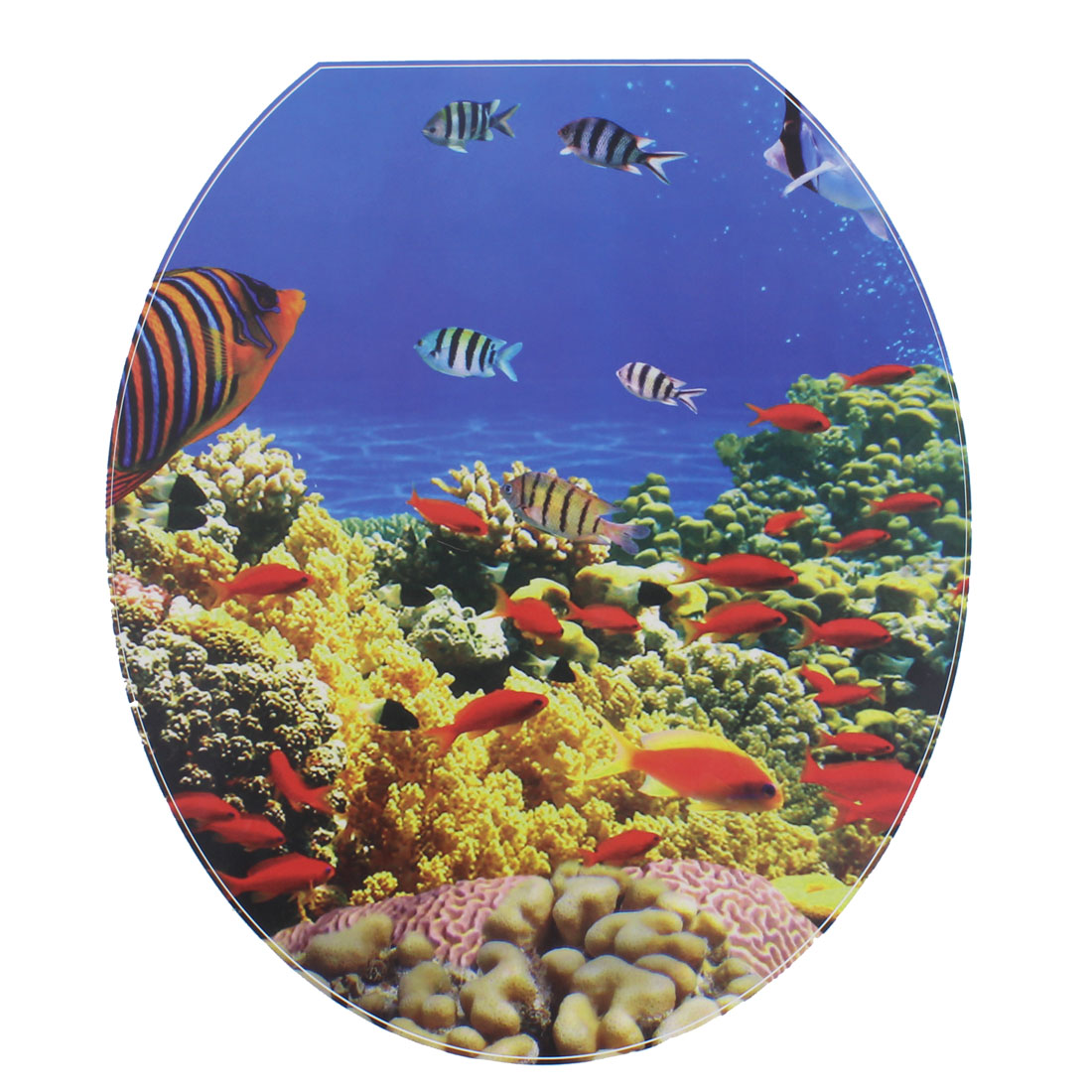 Bathroom PVC Marine Fish Pattern Removable Water Resistance Toilet Lid Sticker