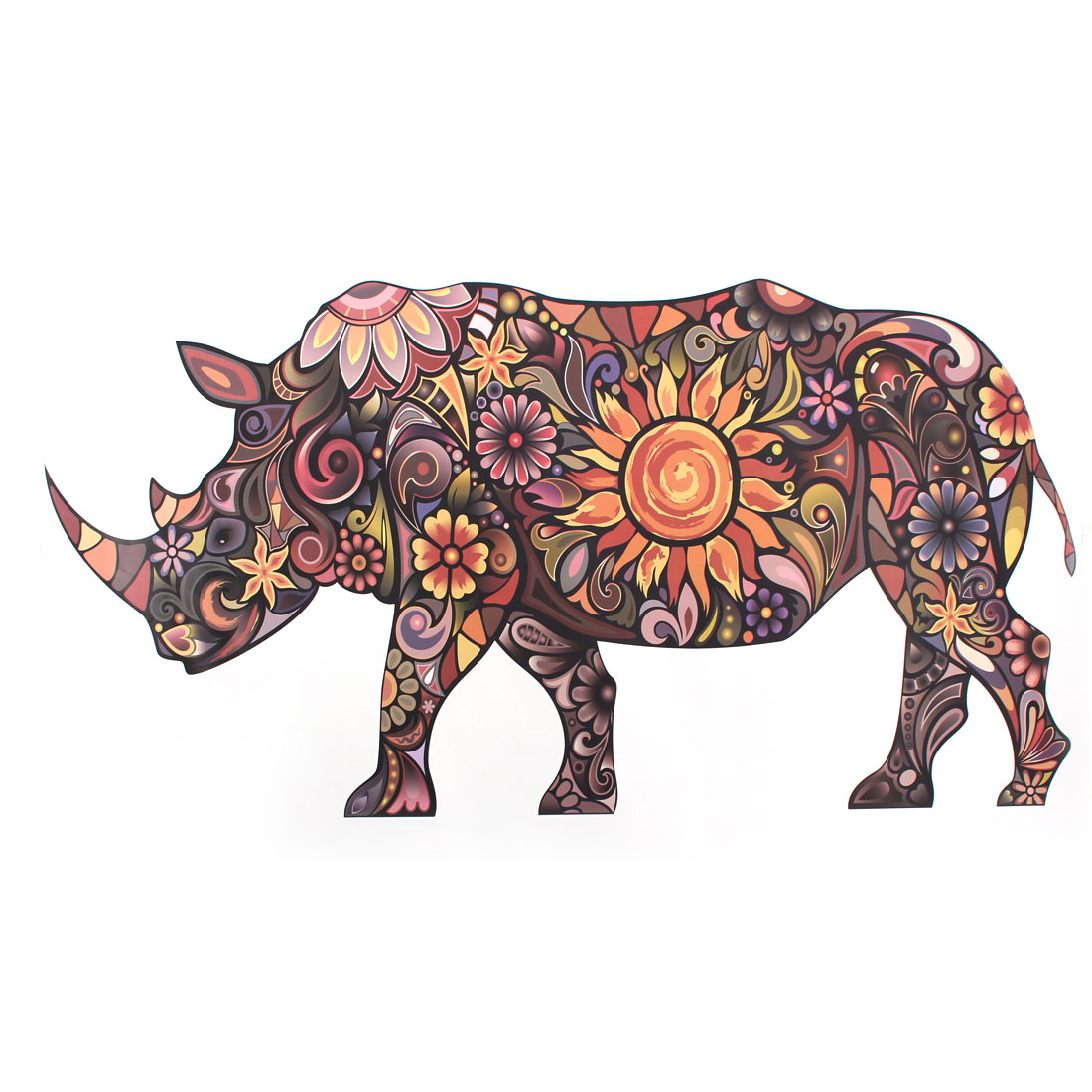 Household Bedroom PVC Rhinoceros Pattern Removable Water Resistant Sticker