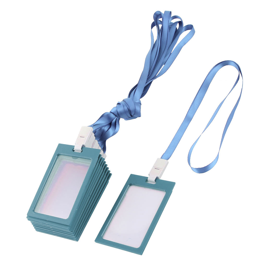 Staff Employee Plastic Frame Vertical Name Tag Container 10 Pcs w Lanyard