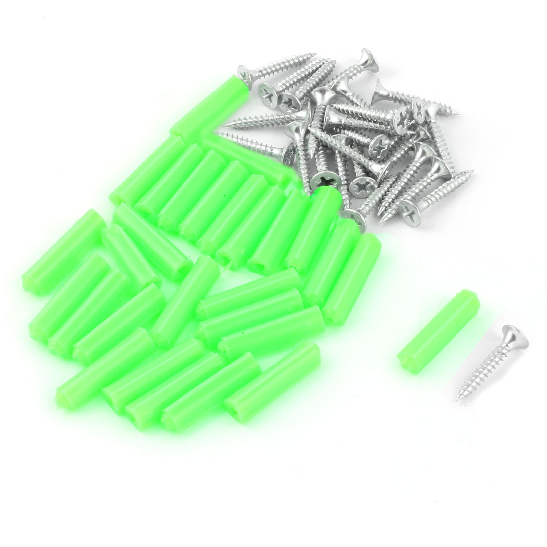 Plastic Expansion Anchor Wall Screws Silver Tone 26 Pcs