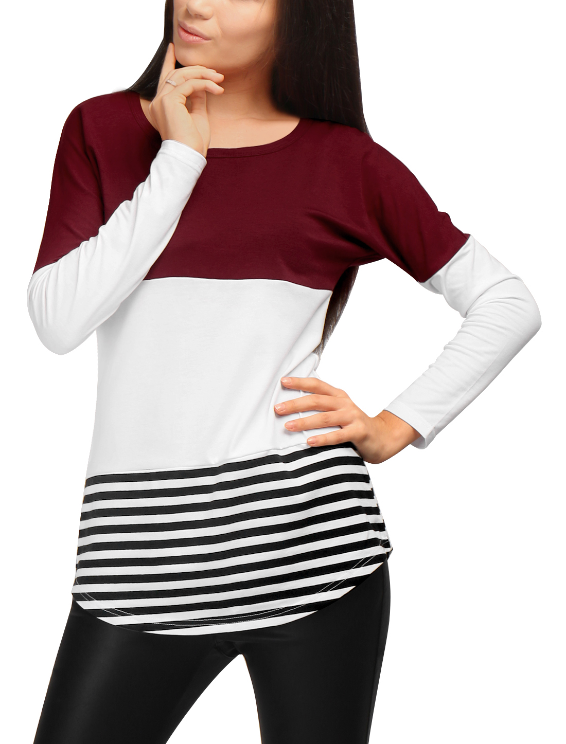 Women's Stripes Color Block Curved Hem Paneled Tunic Shirt Red XS