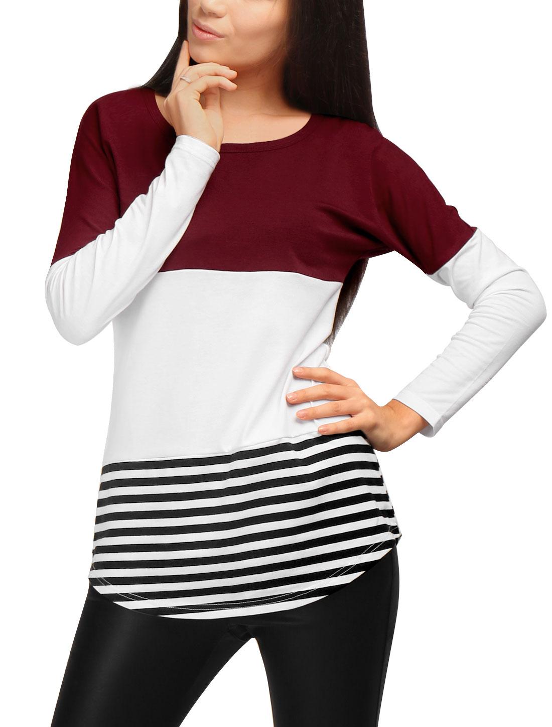 Allegra K Women Stripes Color Block Curved Hem Paneled Tunic Shirt Red L