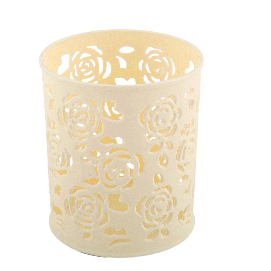 Desktop Plastic Hollow Out Floral Design Pen Stationery Storage Basket Container Ivory