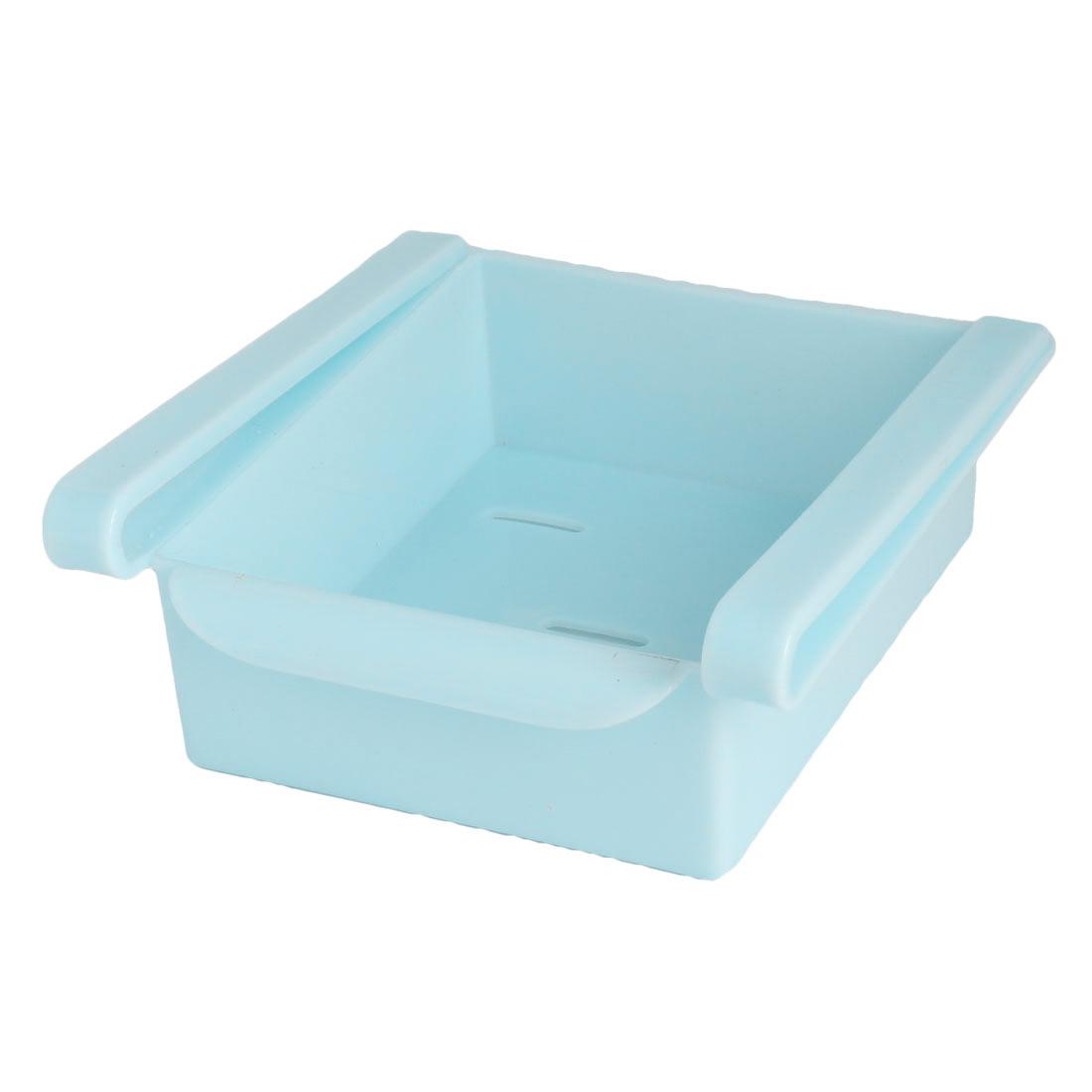 Plastic Fridge Storage Sliding Drawer Shelf Box Basket Organizer Cyan