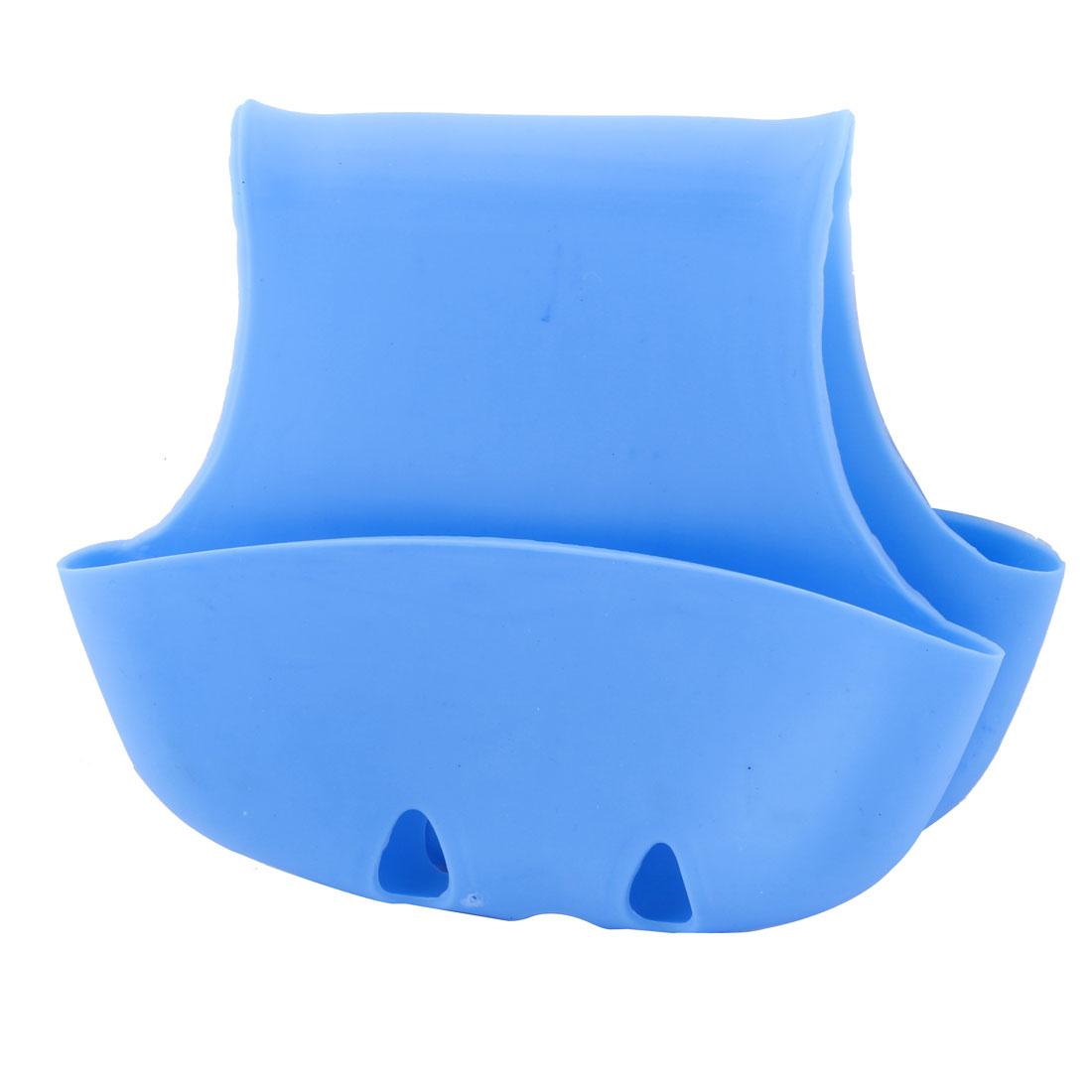 Saddle Style Sink Faucet Dish Washing Tool Sponge Drainer Holder Basket Blue