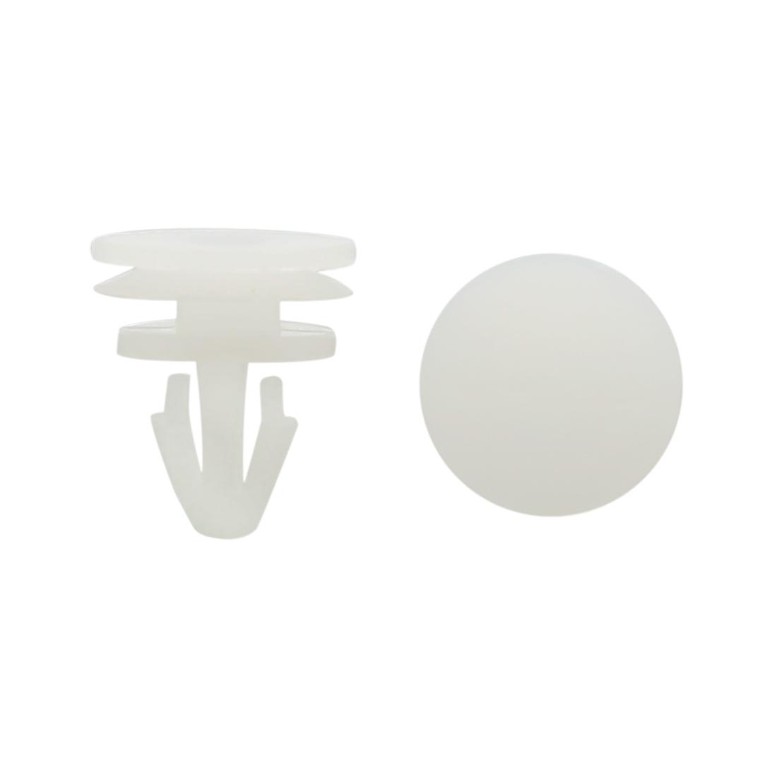 50 Pcs White Plastic Push-Type Bumper Retainer Rivet Clips 7mm x 9mm x 13mm