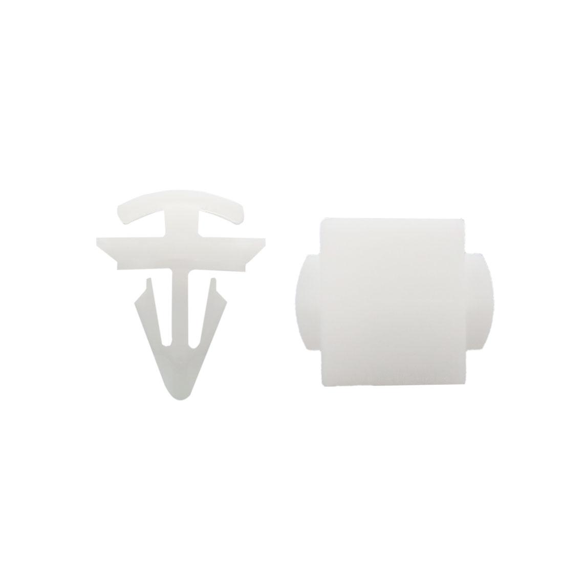 40 Pcs White 9.5mm Dia Hole Plastic Push-Type Rivet Clips for Automobile