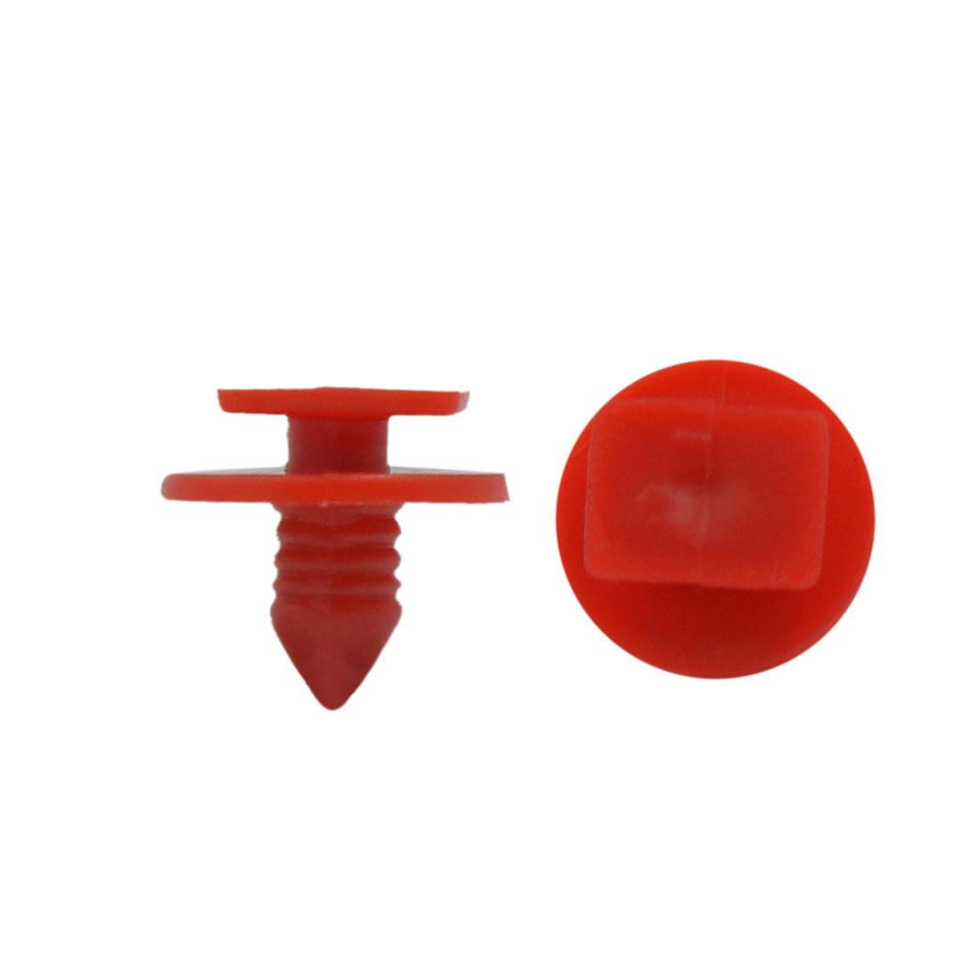 100 Pcs Red 6mm Dia Hole Plastic Push-Type Bumper Retainer Rivet Clips for Car