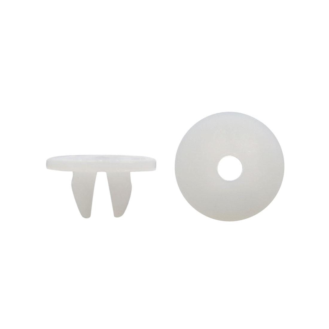 100 Pcs 8mm x 7mm Hole Dia Plastic White Rivets Bumper Door Fastener Clips