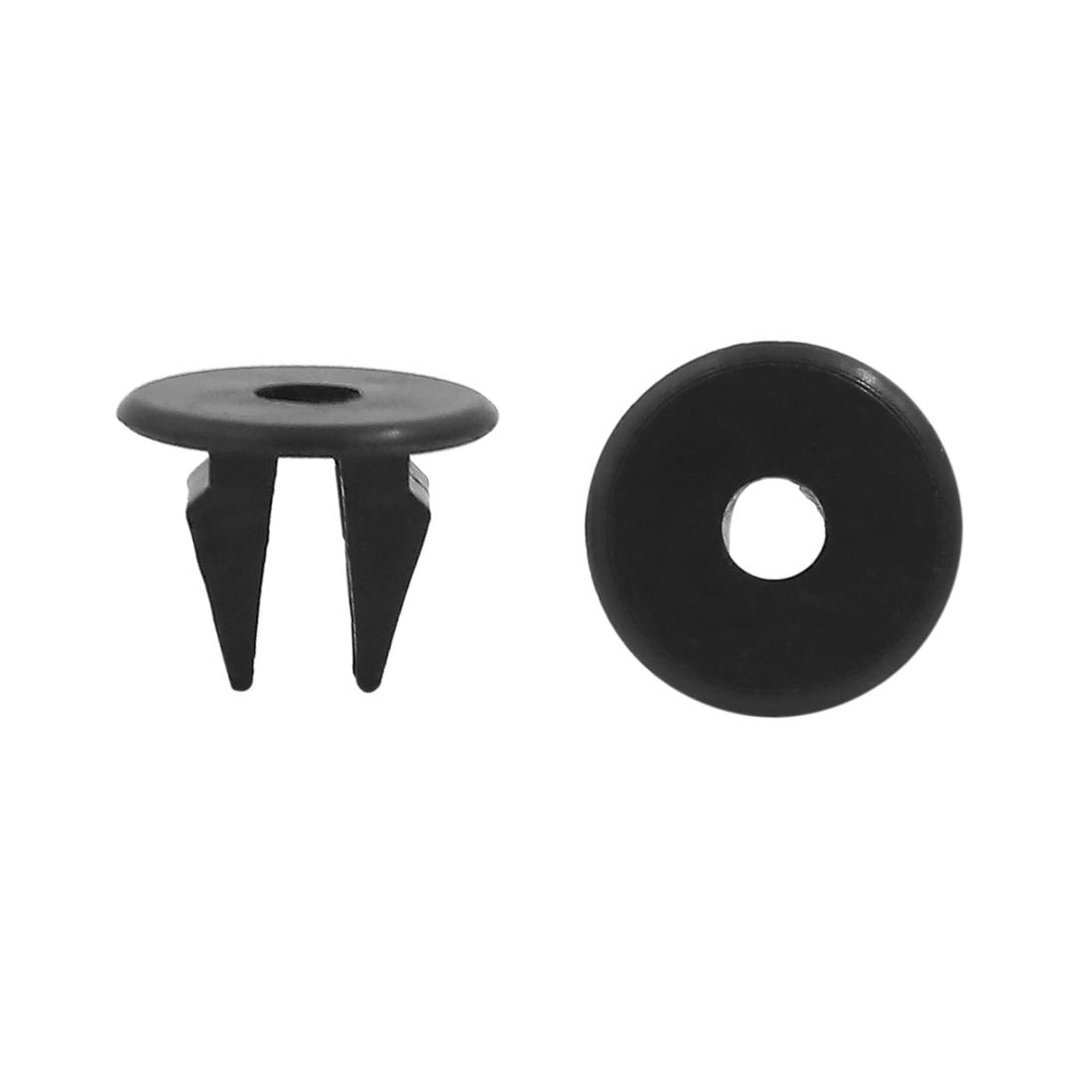 100 Pcs Black Plastic Push Type Fasteners Clip Car Auto Rivet 10 x 8mm Hole Dia
