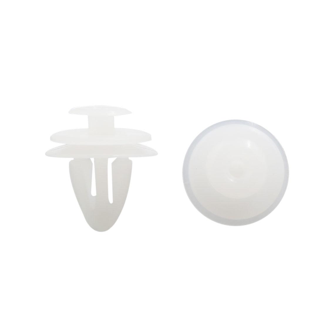30 Pcs White Fastener Bumper Push Clips Plastic Rivets 10mm x 12mm x 17mm