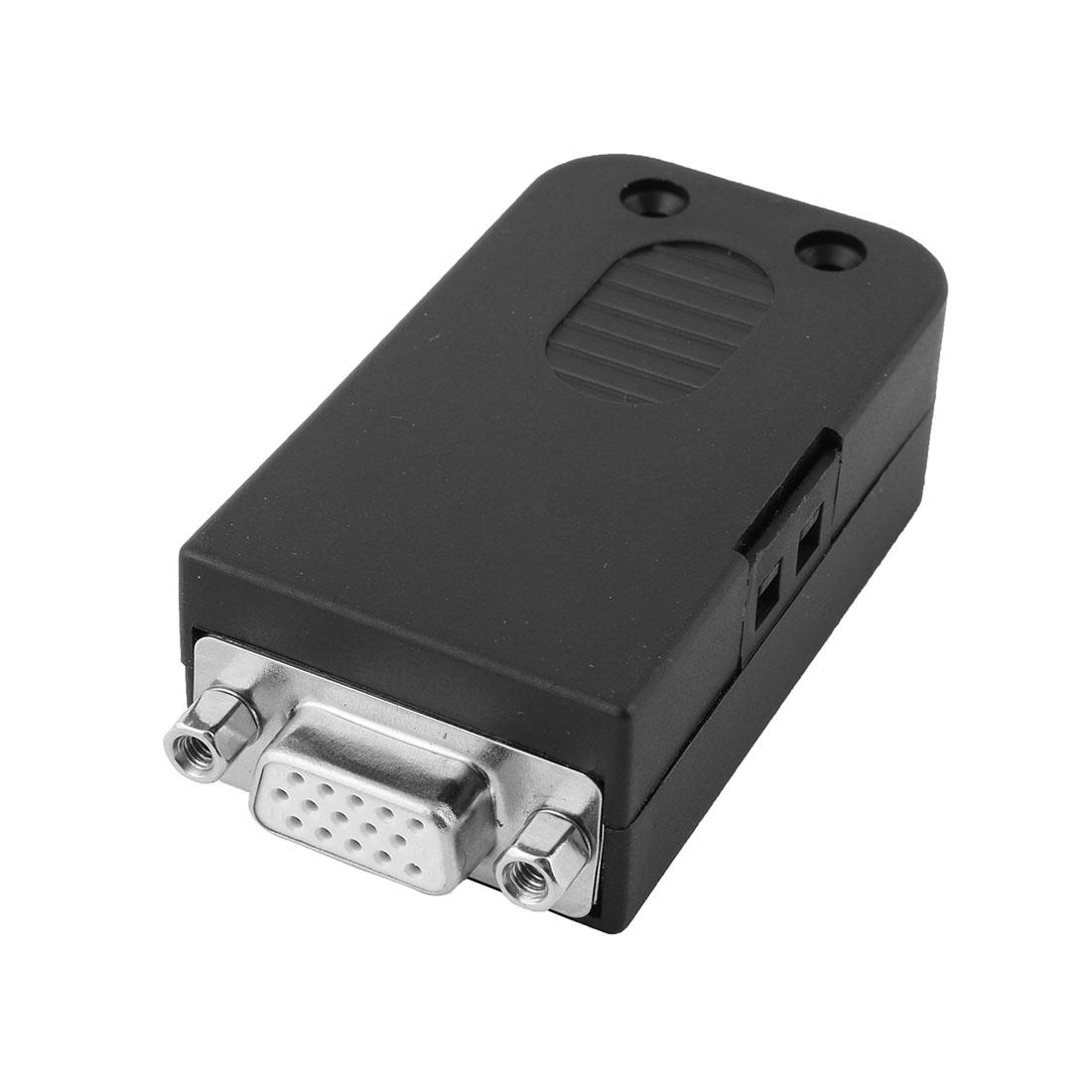 DIY D-SUB DB15 VGA Female Plastic Shell Breakout Terminals Board Connector w Screw