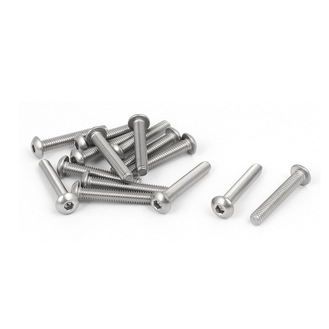 M4x25mm 316 Stainless Steel Round Button Head Hex Socket Cap Screw Bolt 15pcs