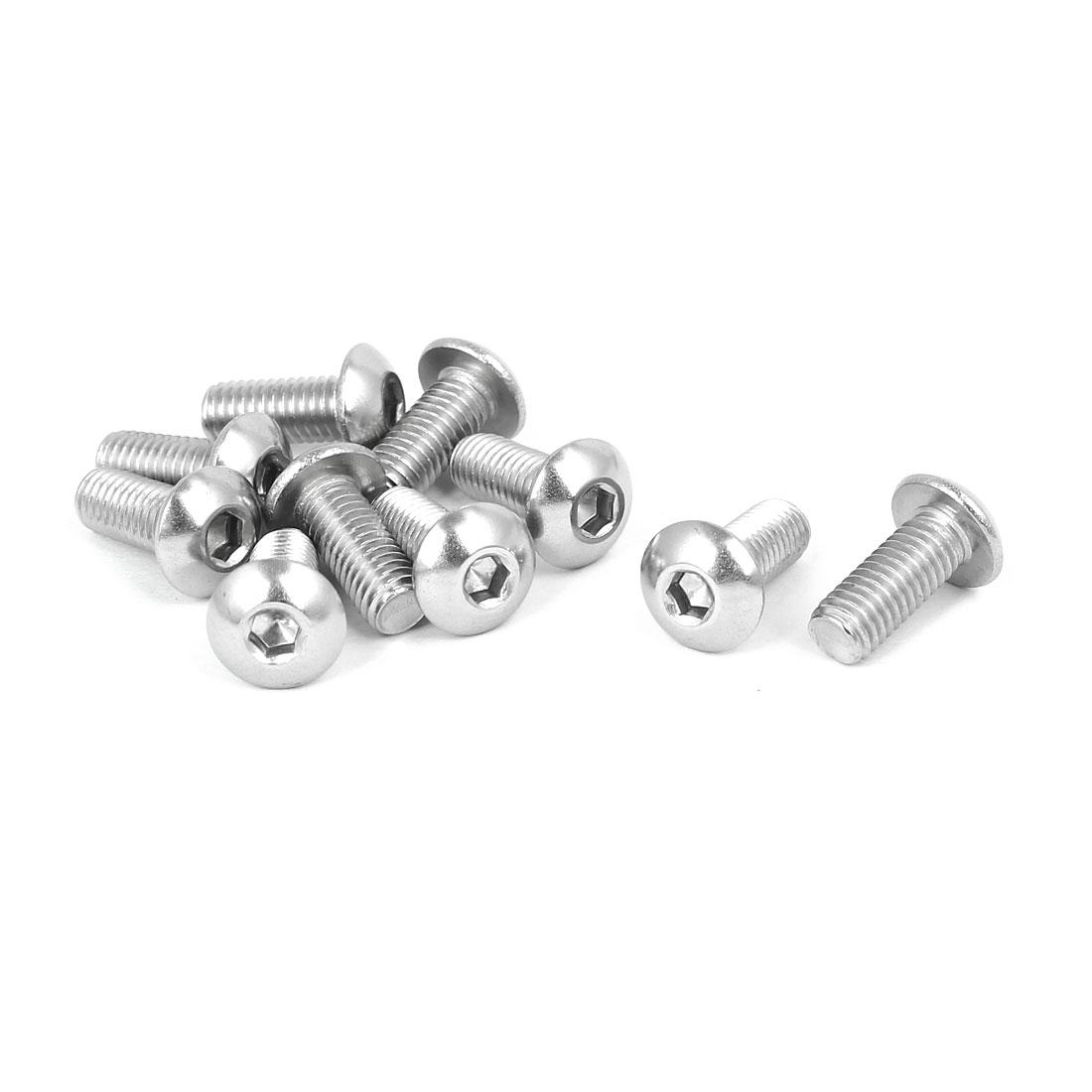 M5x12mm Thread 316 Stainless Steel Button Head Hex Socket Cap Screw Bolt 10pcs