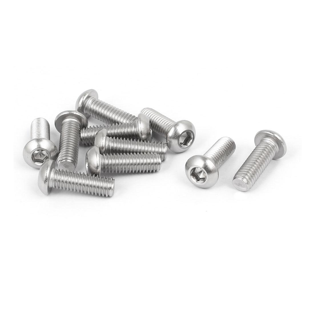 M6x18mm 316 Stainless Steel Button Head Hex Socket Cap Screw Bolt Fastener 10pcs