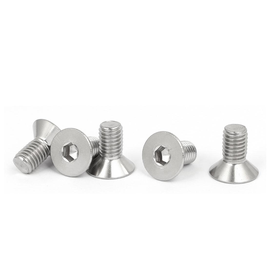 M8x16mm 316 Stainless Steel Fully Thread Flat Head Hex Socket Cap Screw 5pcs