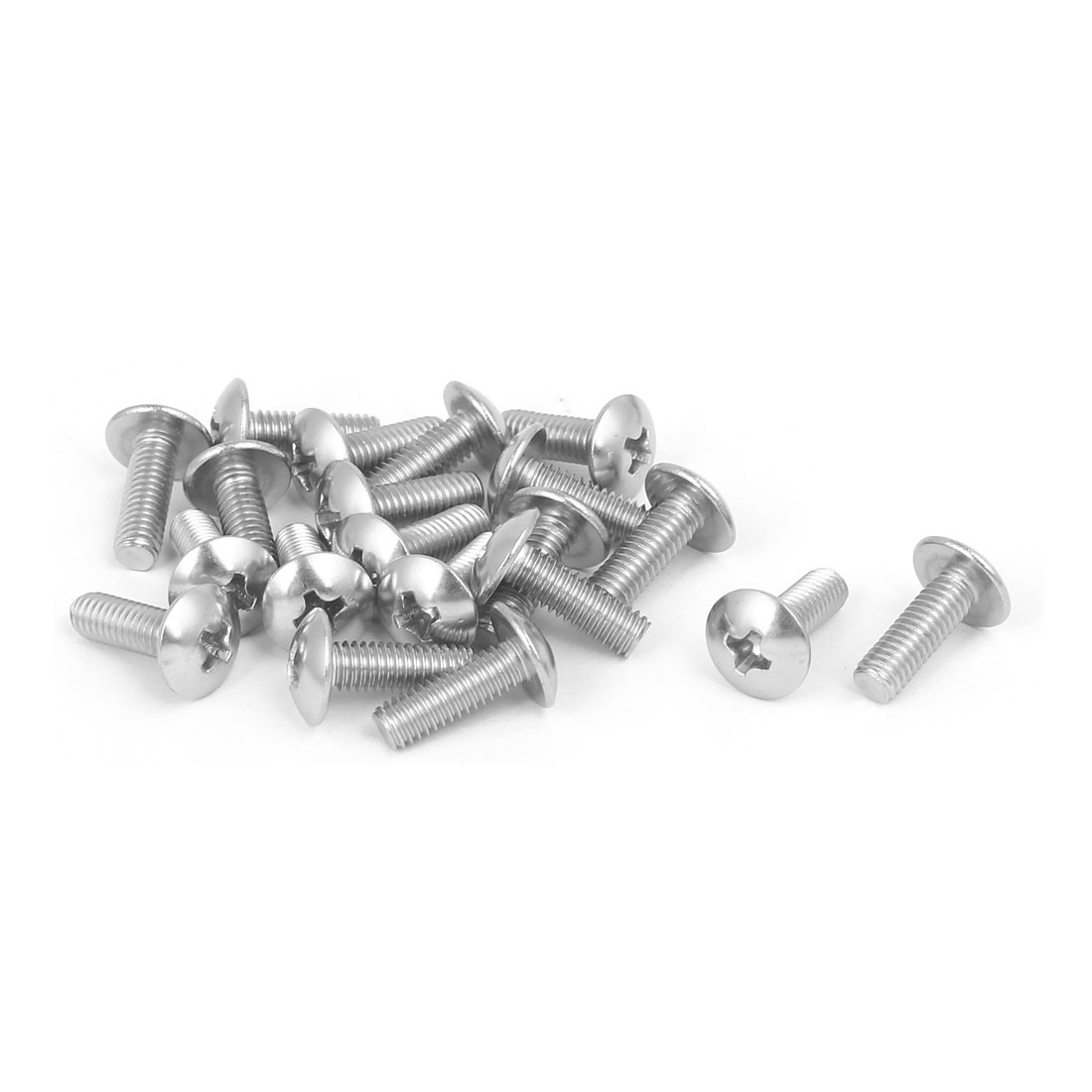 M4x12mm 316 Stainless Steel Truss Phillips Head Machine Screw Silver Tone 20pcs