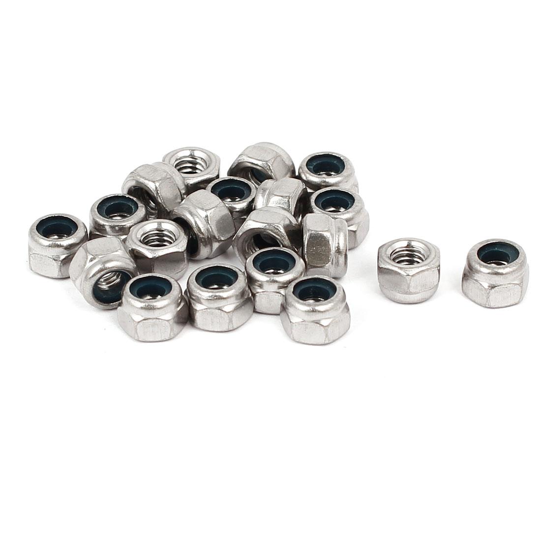 M4 316 Stainless Steel Nylock Nylon Insert Hexagonal Lock Nuts Silver Tone 20pcs