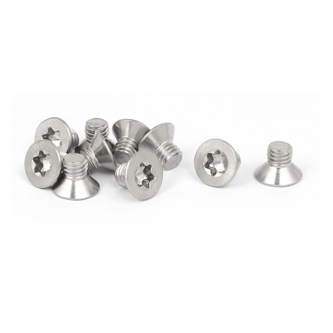 M6 x 8mm 316 Stainless Steel Flat Torx Head Machine Screw Silver Tone 10pcs