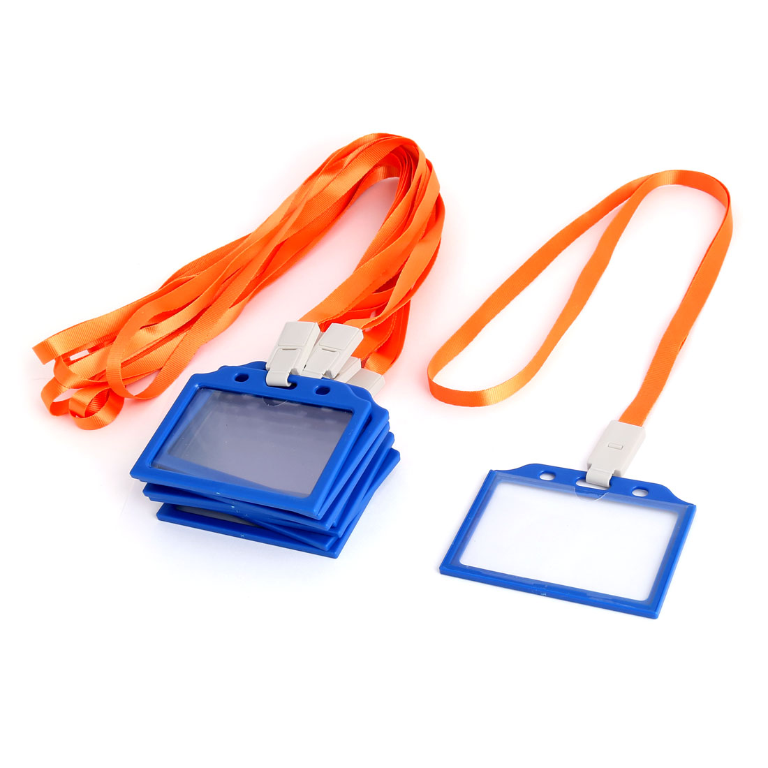 Office School Plastic Horizontal Name Tag Card Holder Orange Blue 10 Pcs