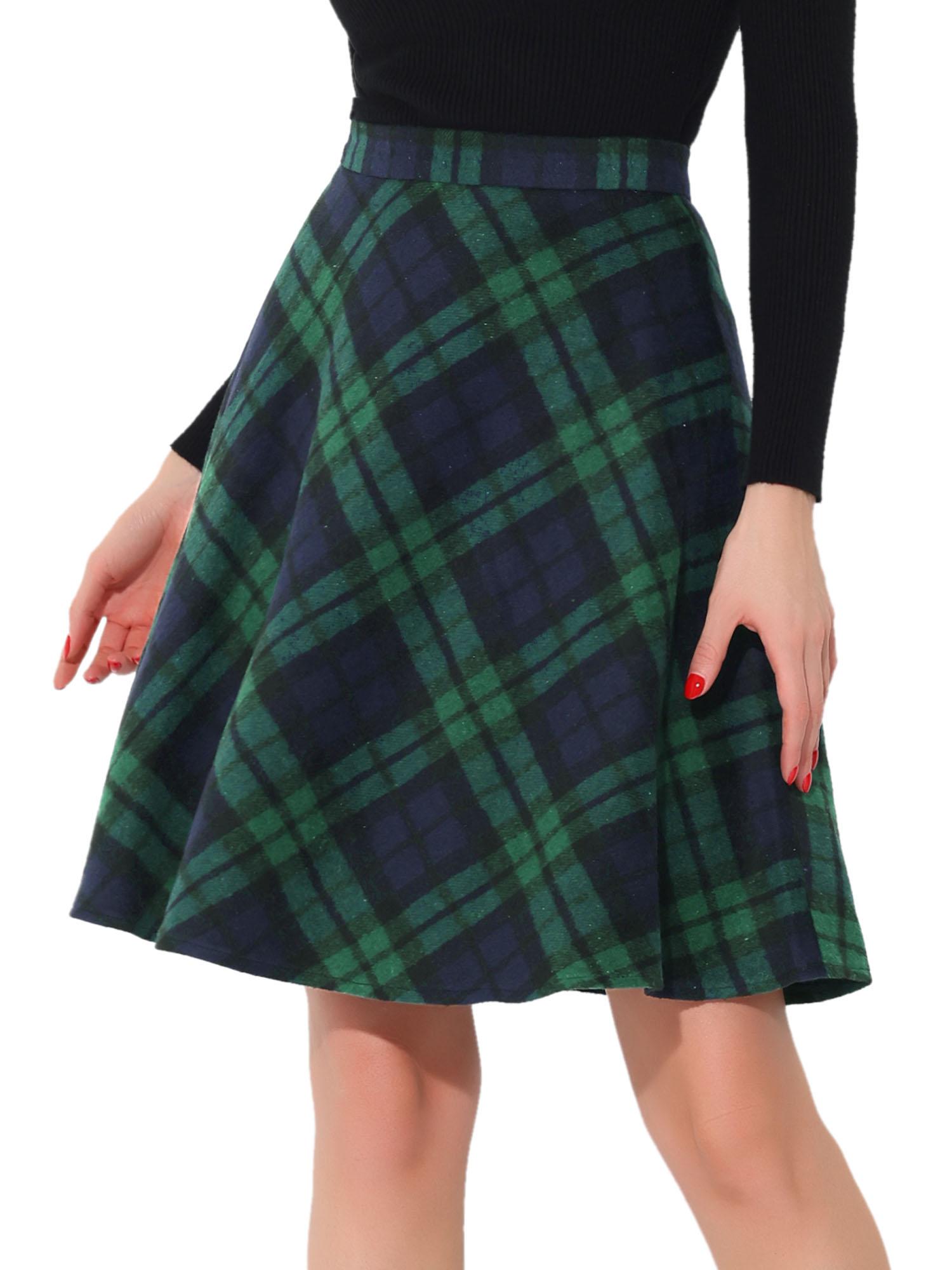 Women Plaids Elastic Waist Knee Length Worsted A Line Skirt Green XS