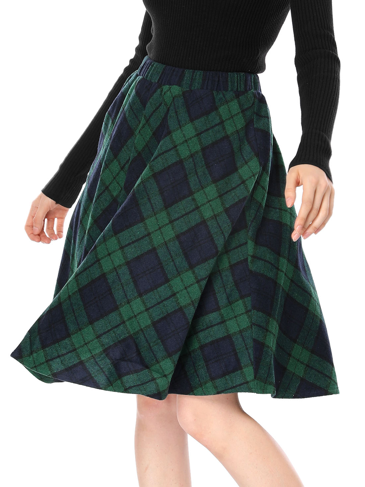 Women Plaids Elastic Waist Knee Length Worsted A Line Skirt Green L