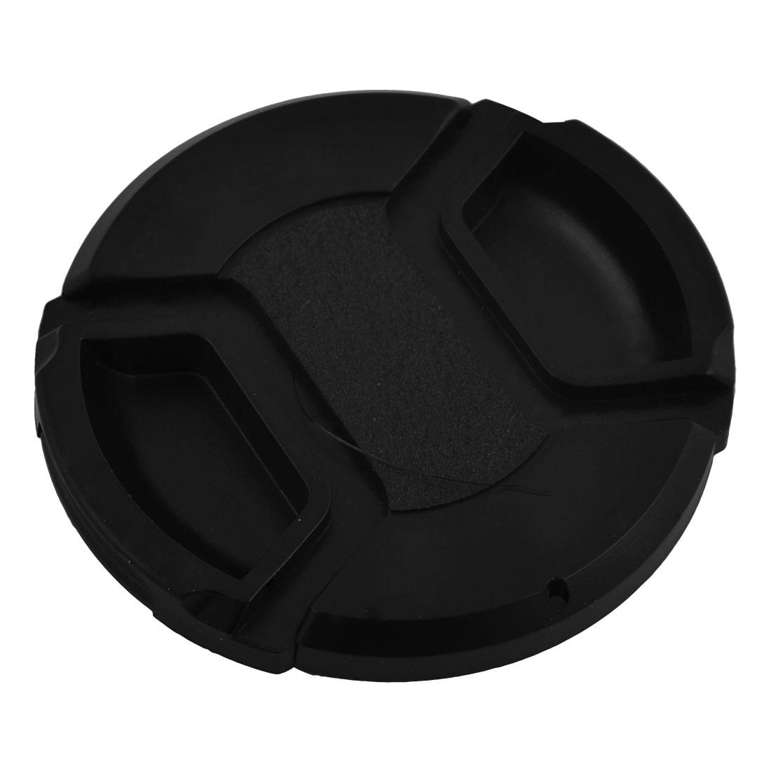 Plastic Front Snap Digital Camera Clip-on Lens Cap Cover Black 58mm w Cord