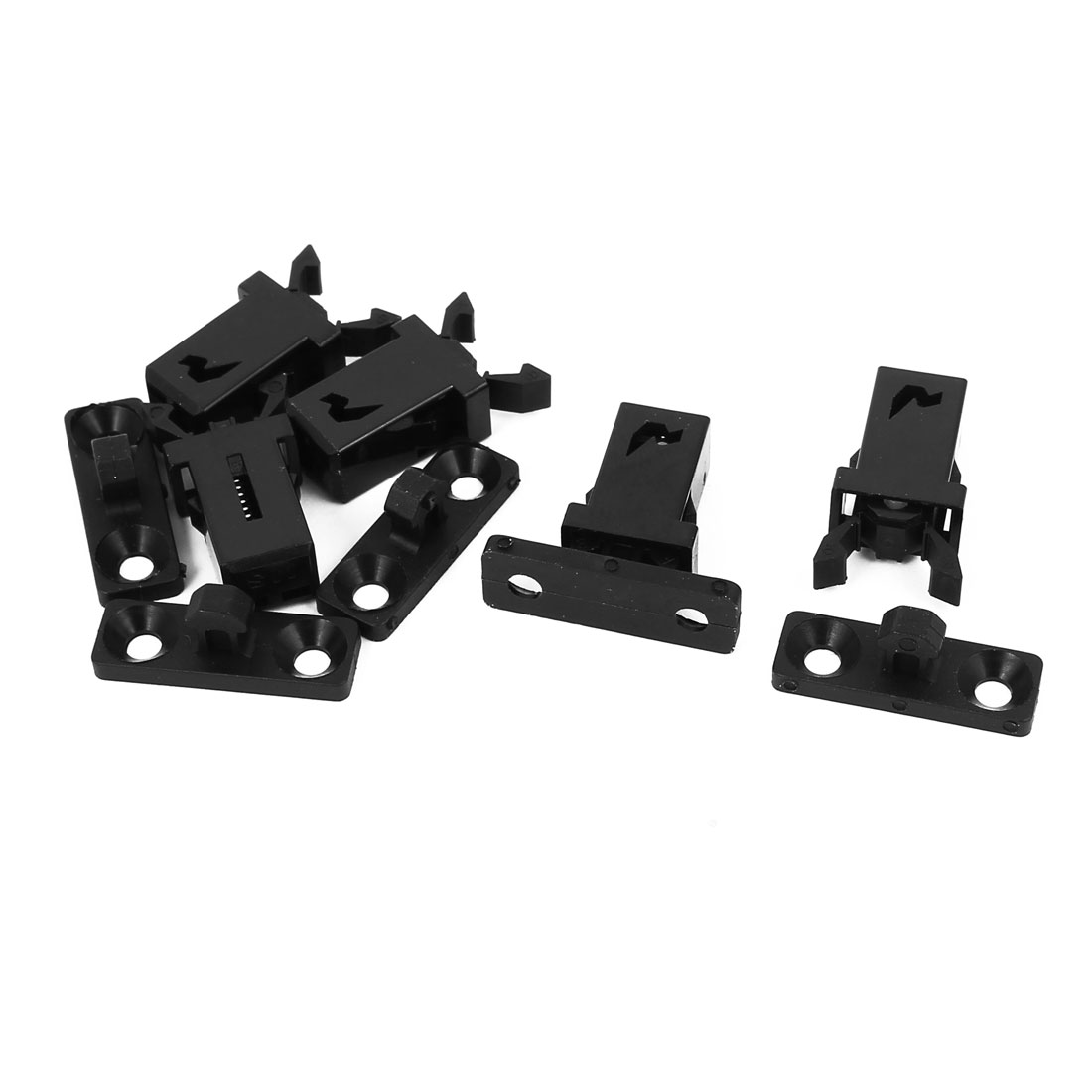 Cabinet Cupboard Plastic Non-Magnetic Push Touch Latch Black 20mm Length 5pcs