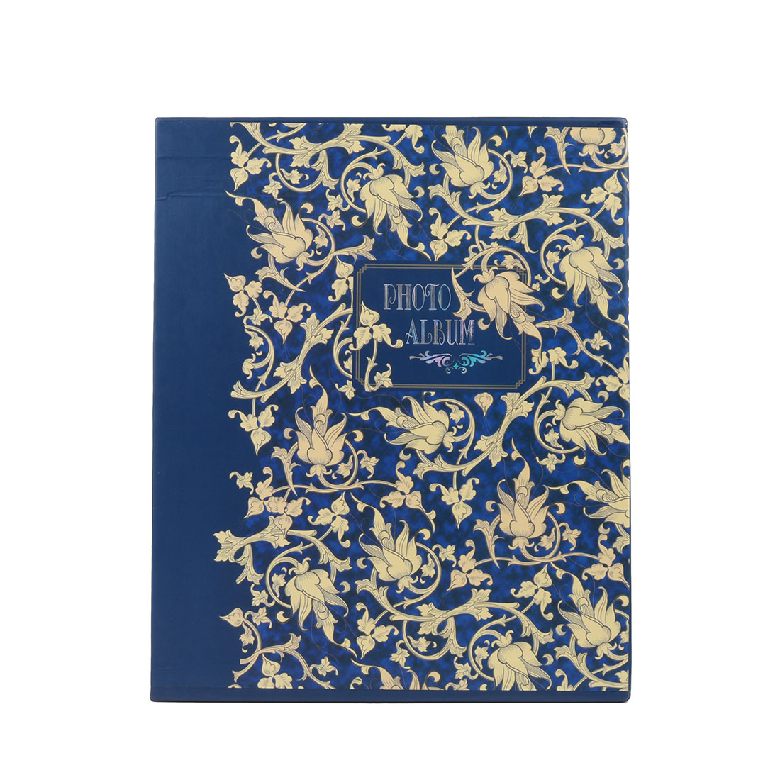 Family Floral Pattern Retro Style Picture Holder Photo Album Blue Yellow