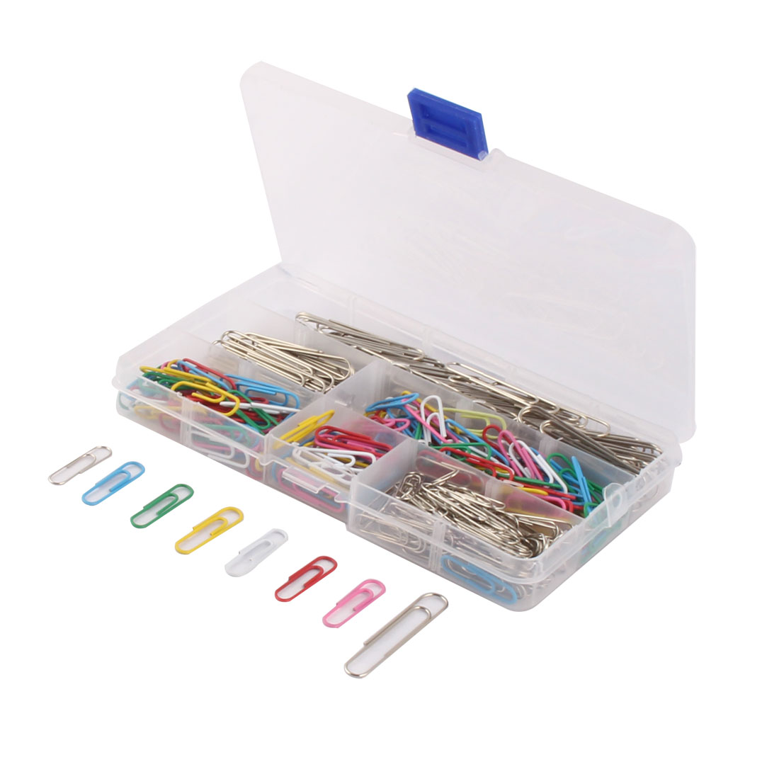 Office Plastic 6 Slot Case Box Organizer Paper Clips Set Assorted Color 340 PCS
