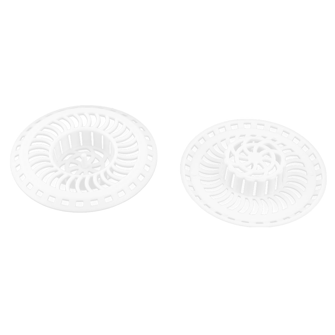 Household Kitchen Plastic Handle Hair Catcher Sewer Sink Strainer Filter White 2 PCS