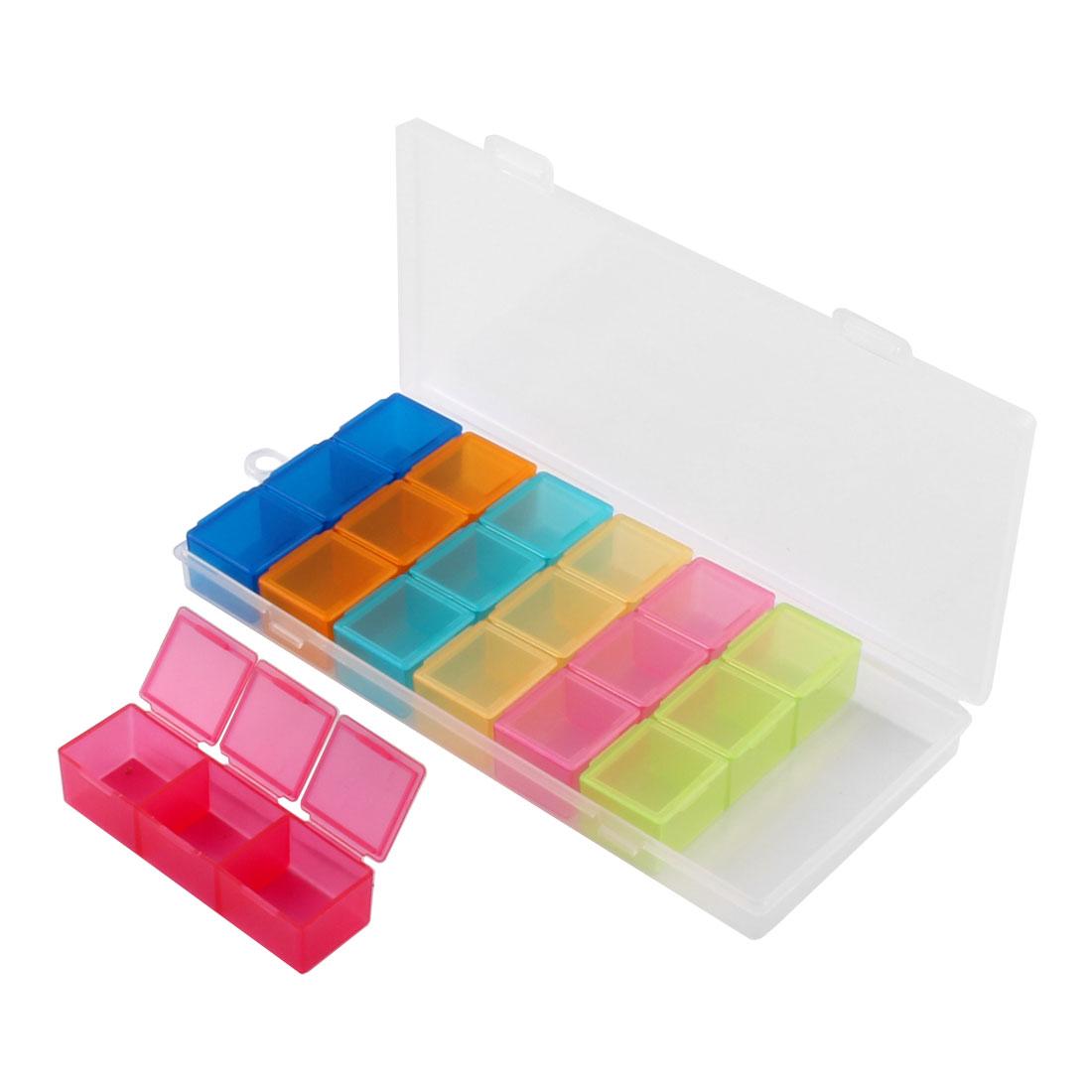 Pills Vitamin Plastic 21 Slots Compartments Drug Splitters Pill Box Assorted Color