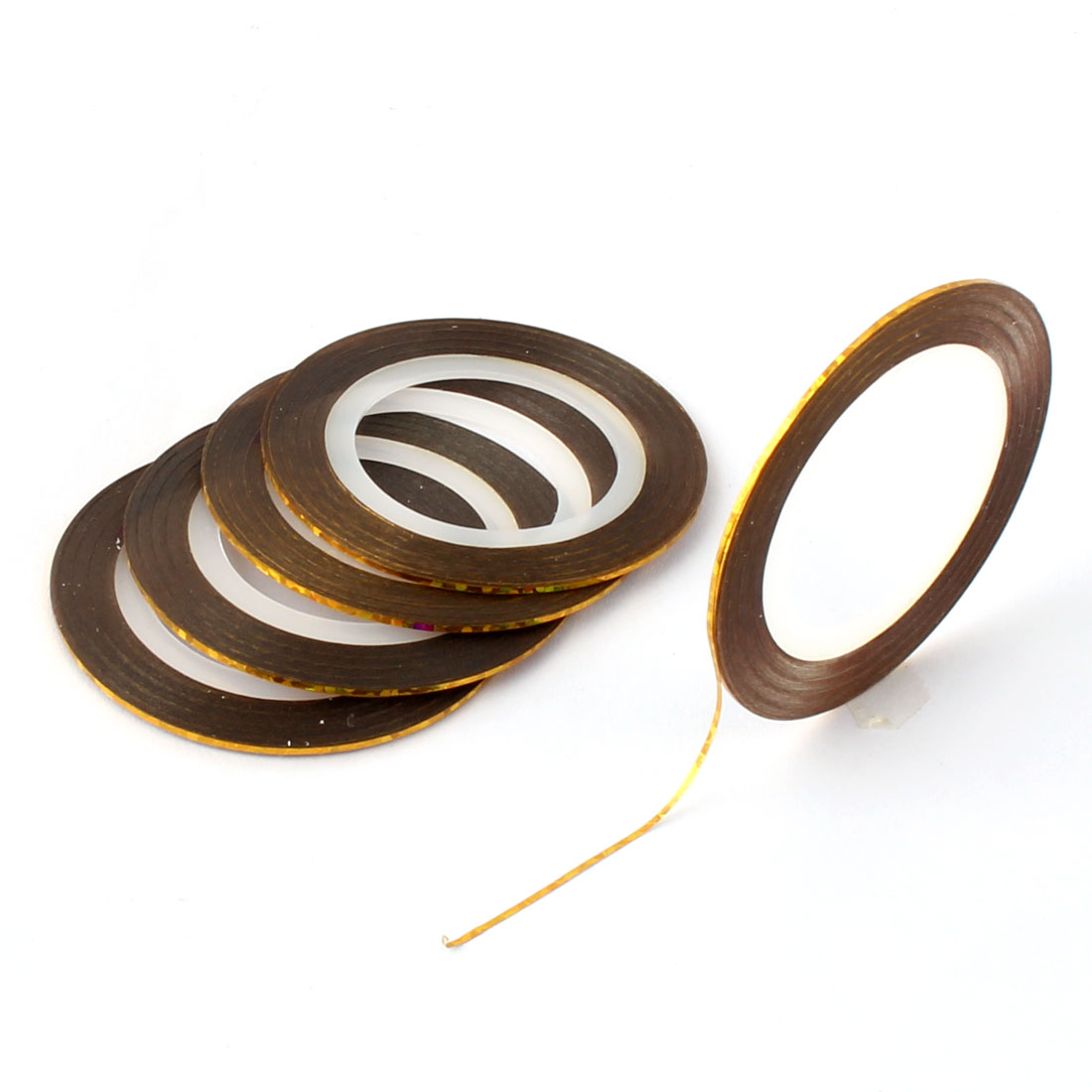 Nail Art DIY Rolls Striping Decoration Sticker Tips Nail Line Tape Gold Tone 5 PCS