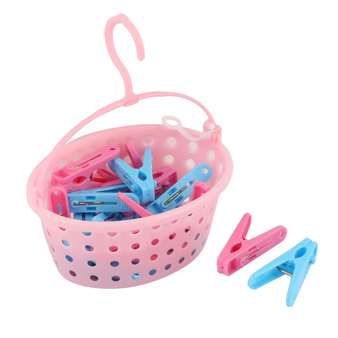 Plastic Clothes Hanging Peg Clip Clamp Clothespin 22 Pcs w Storage Basket Set