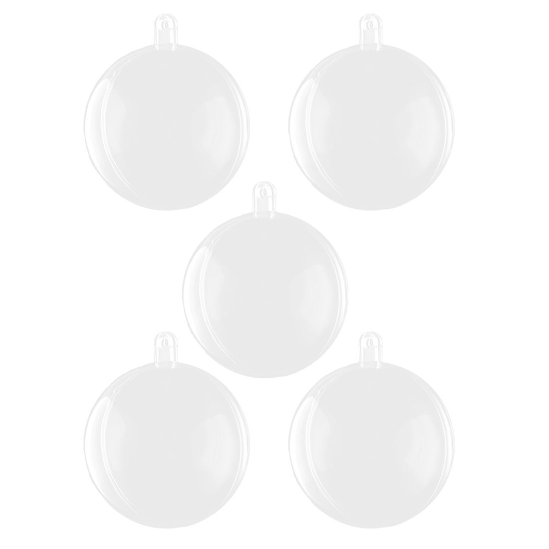 Home Plastic Round Shaped Christmas Transparent Ball DIY Craft Present Bauble Clear 5pcs