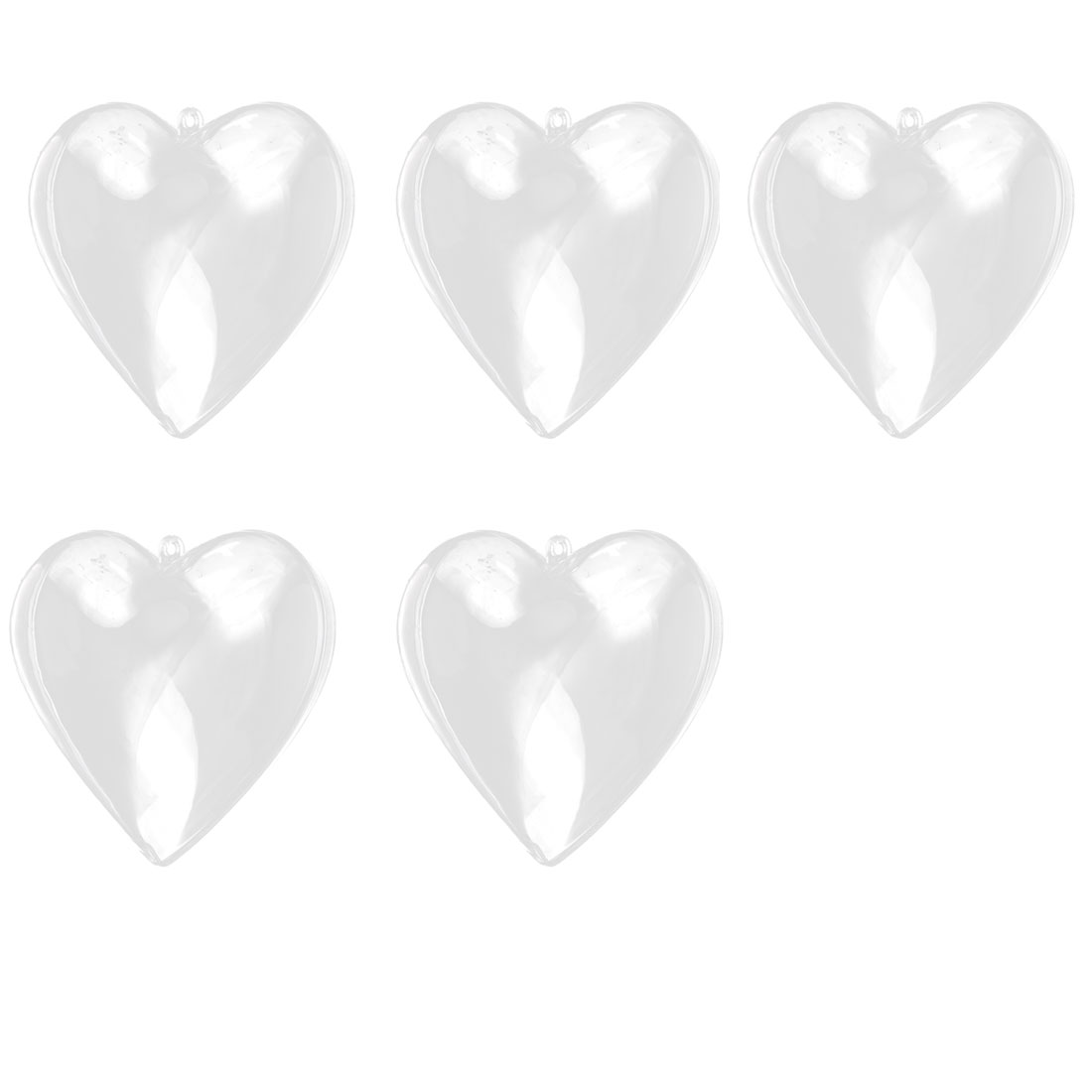 Home Plastic Heart Shaped Christmas Dangling DIY Craft Present Bauble Clear 5pcs