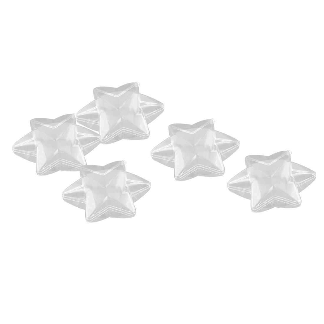 Home Garden Plastic Six-pointed Star Shaped Hanging Christmas Decoration Bauble Ball Clear 5pcs