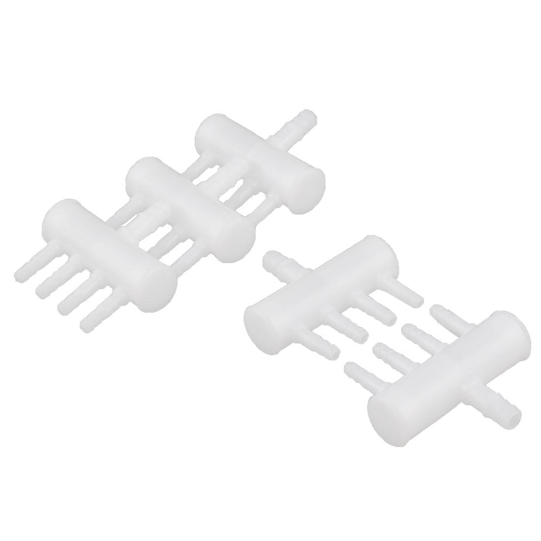 Aquarium Plastic 4 Outlets Oxygen Flow Controller Distributor Valve White 5pcs