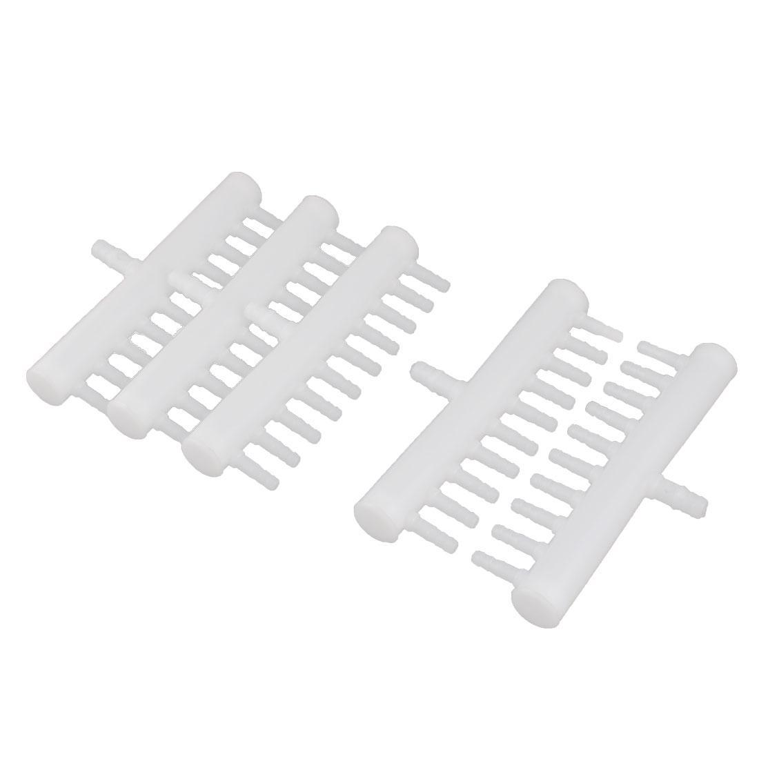 Aquarium Plastic 10 Outlets Oxygen Flow Splitter Distributor Valve White 5pcs