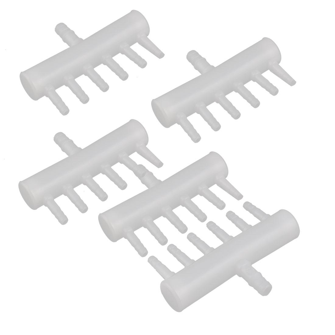 Aquarium Plastic Single Row Design 6-way Air Flow Controller Lever Valve White 5pcs