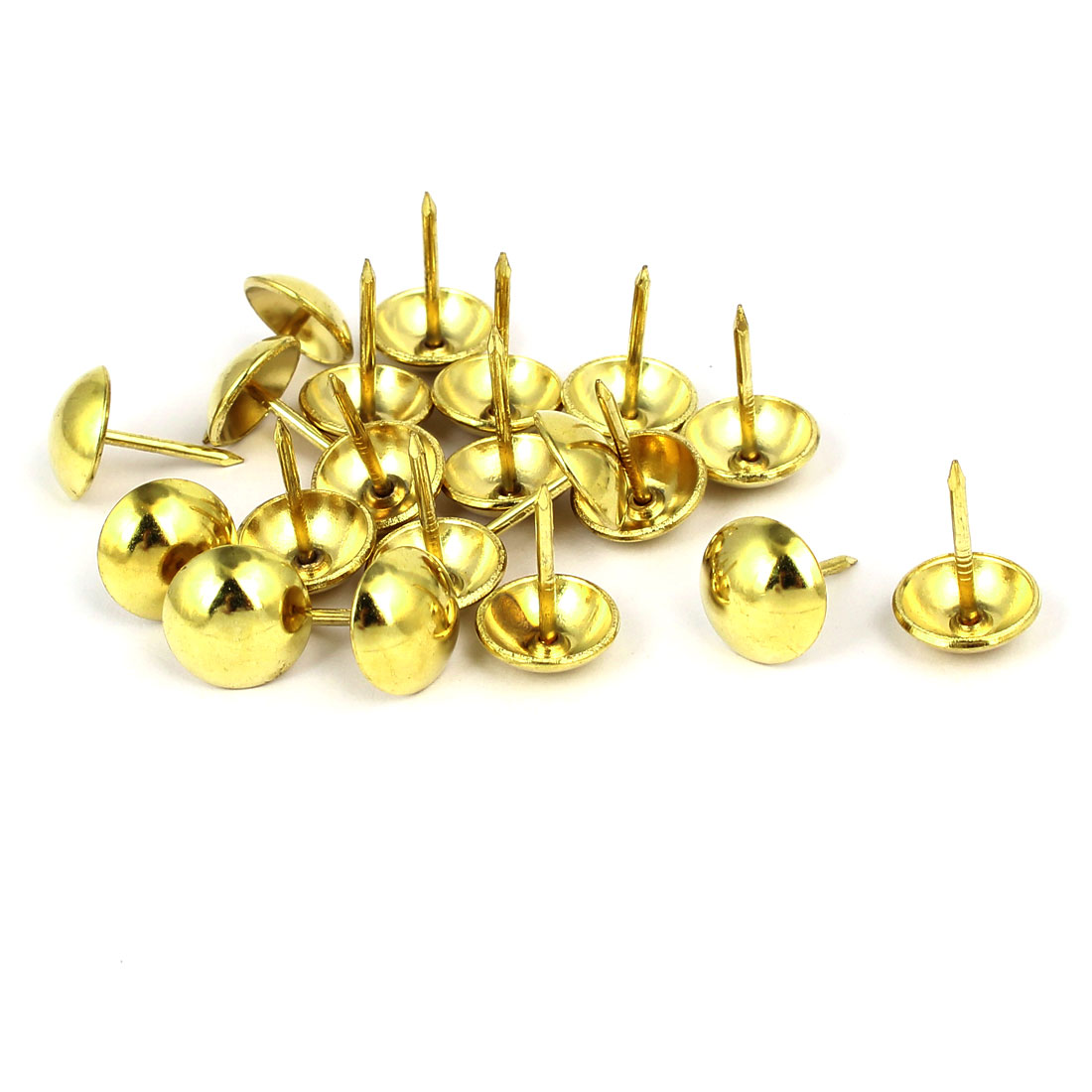 Home Furniture Upholstery Thumb Tack Nail Push Pin Gold Tone 12mm x 17mm 20pcs